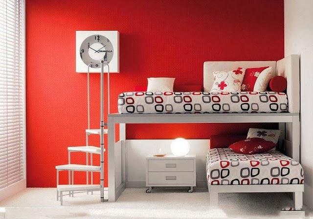 design de interiores Dormitorios vermelha