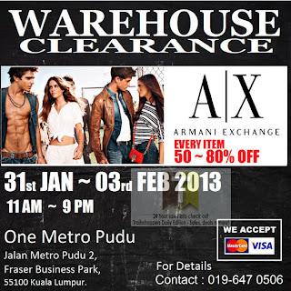Armani Exchange Warehouse Clearance Sale 2013