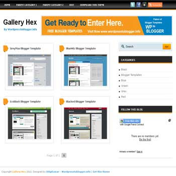 Gallery Hex blogger template. free blogspot template gallery style