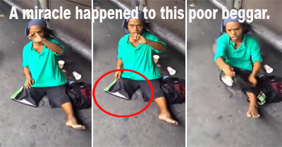Beggar with one leg walks again