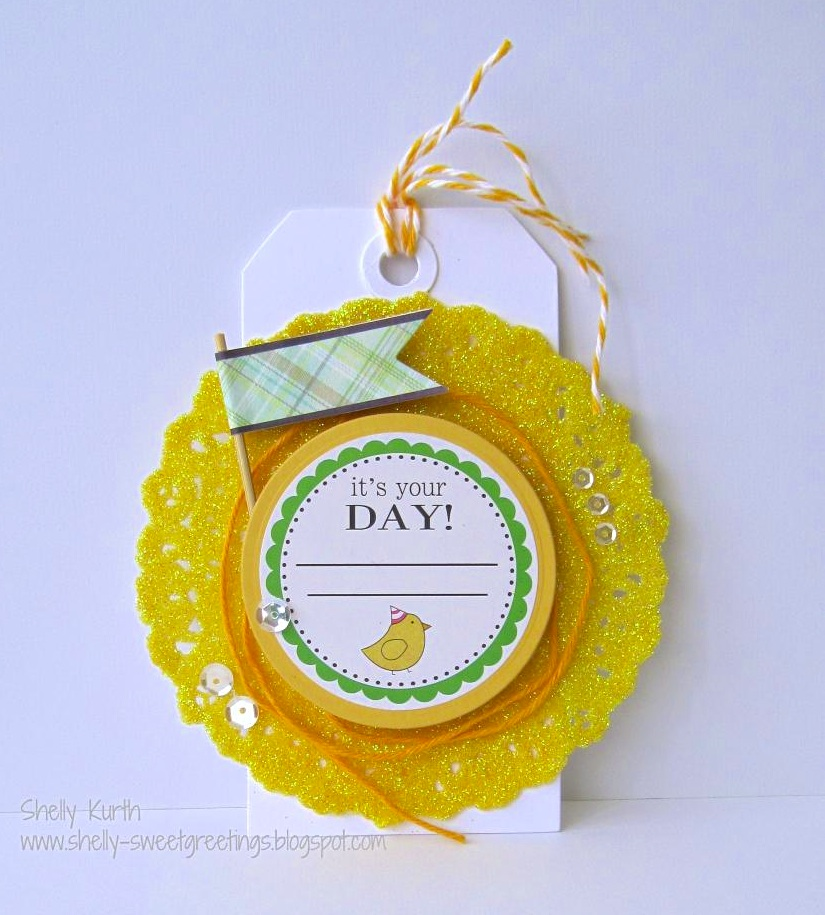 SRM Stickers Blog - Decorated Doily Tag by Shelly - #tag #birthday #twine #doily #labels by the dozen