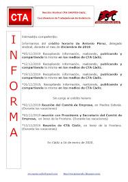 C.T.A. INFORMA CRÉDITO HORARIO ANTONIO PÉREZ, DICIEMBRE 2019