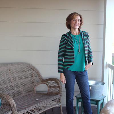 Grainline Studio Morris Blazer in Striped Ponte