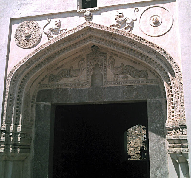 Golconda Fort decorated arch in Hyderabad India