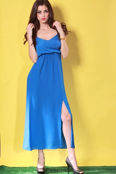 ROYAL BLUE V NECKLINE CHIFFON FABRIC TULIP HEM MAXI DRESS