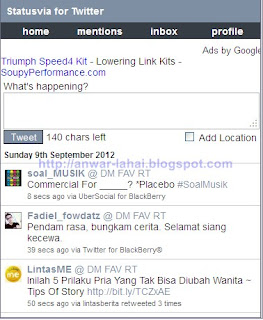 Cara Update Status Twitter dan FB via i-Phone BB Android