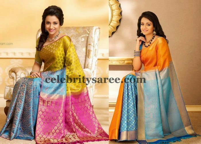 Trisha Tri Color Silk Sarees