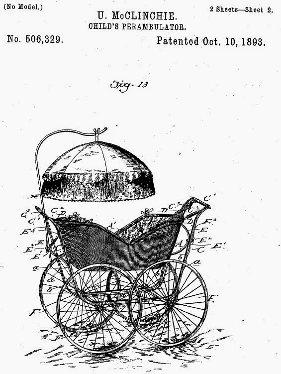 US Patent No 506329.  U.McCLINCHIE. CHILD'S PERAMBULATOR. Patented Oct. 10, 1893.