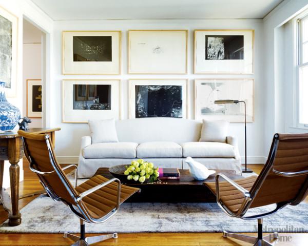 Inferior decor - Sofa de piel blanco ...