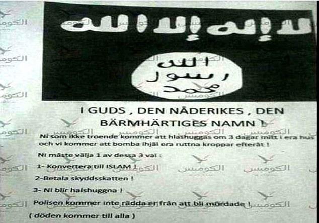 Πολυφυλετισμέ, πάψε πια να χτυπάς με το μαχαίρι! Επιστολές τζιχαντιστών στα σπίτια των Σουηδών - «Θα σας αποκεφαλίσουμε όλους» [εικόνες]