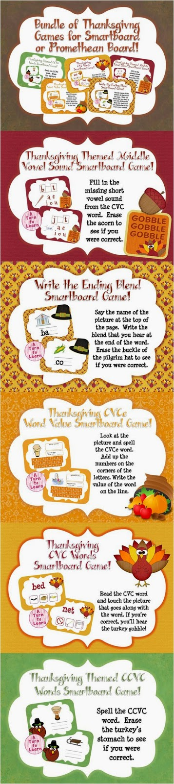 These thanksgiving themed smartboard/promethean board games are perfect for your classroom - not only are they adorable, but they're self checking also!
