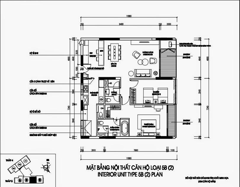 Bản vẽ thiết kế căn hộ CH5B - 144m2 Chung cư Dolphin Plaza