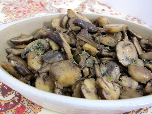 Steakhouse Sautéed Mushrooms - mushrooms sautéed in butter, white wine and garlic - ready in under 30 minutes.