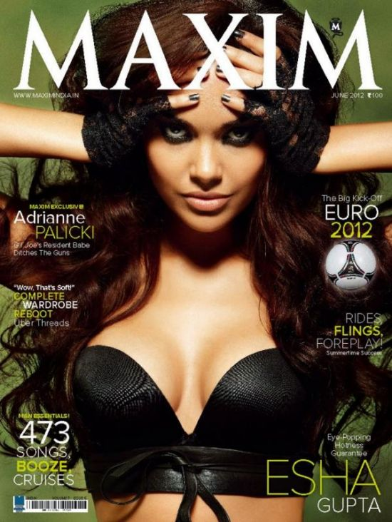 Esha Gupta in a daring black top looking sizzling hot -  Esha Gupta Maxim india BLACK TOP HOT PIC