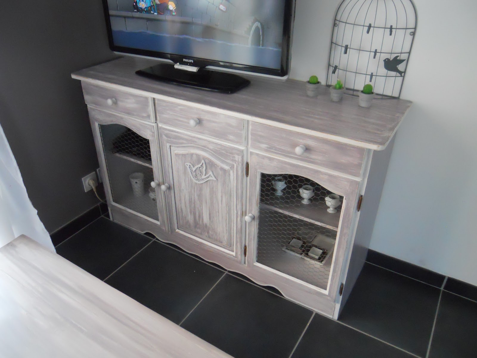 Meubles d co buffet en pin relook en meuble tv - Meuble tv relooke ...