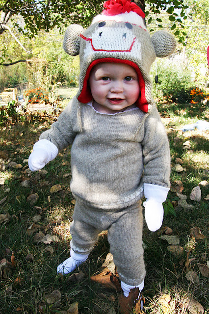 toddler in sock monkey costume