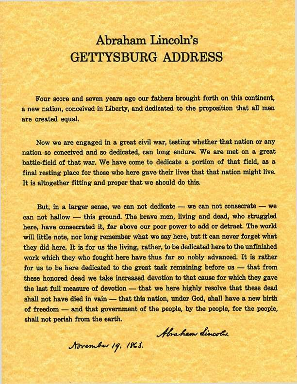 "comparing the gettysburg address and ginsbergs america Students should discuss the impact of reading the gettysburg address in comparison to listening to it day 2 – read edward everett's ""gettysburg address"" (paragraph 16-31) students will discuss the stylistic differences of lincoln and everett."