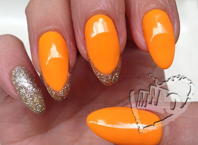 Stilleto Nail Art Design easy orange pro gel trophy cup gold almond