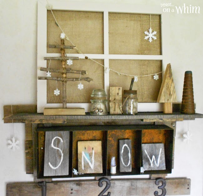 Rustic Trees and Junky Snowmen Shelf Decor from Denise on a Whim