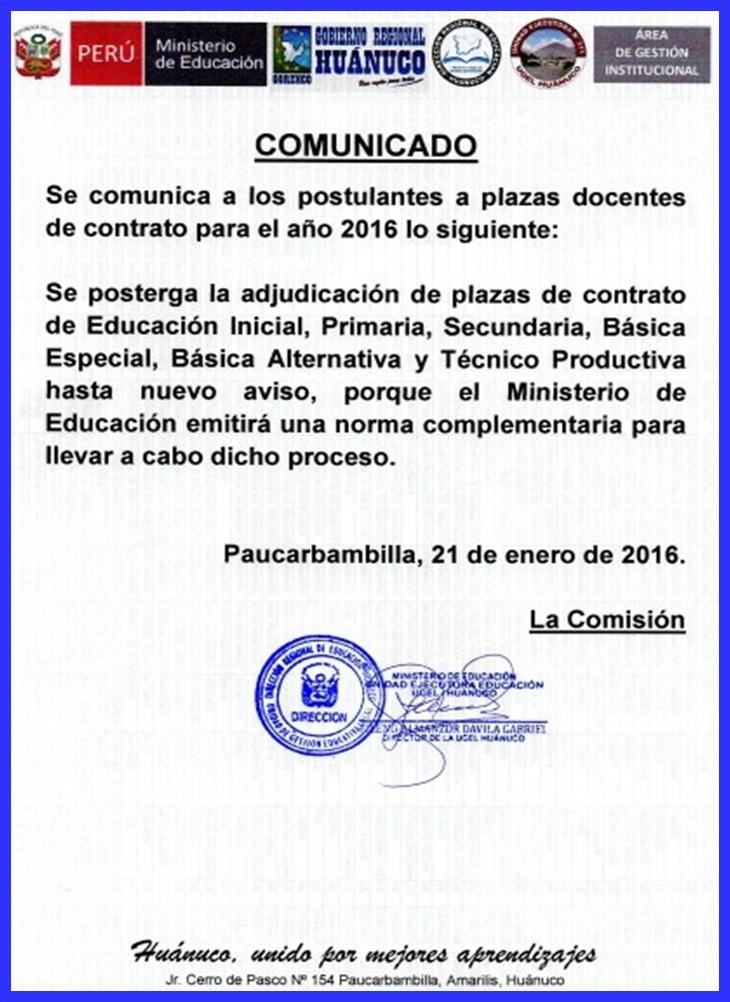 Ugel hu nuco postergaci n del proceso de adjudicaci n de for Plazas de docentes 2016
