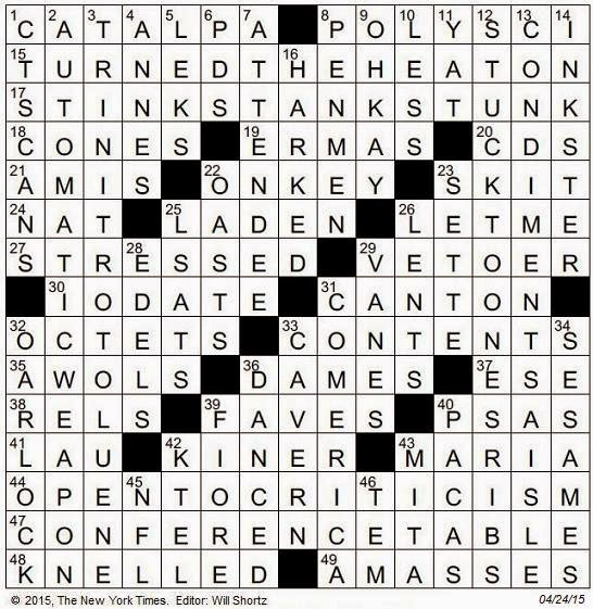 04.24.15 u2014 The Friday Crossword  sc 1 st  The New York Times Crossword in Gothic & The New York Times Crossword in Gothic: April 2015 25forcollege.com
