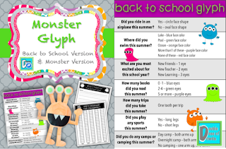 This monster glyph has a back to school version and a generic version.  Both are available in color and black and white.