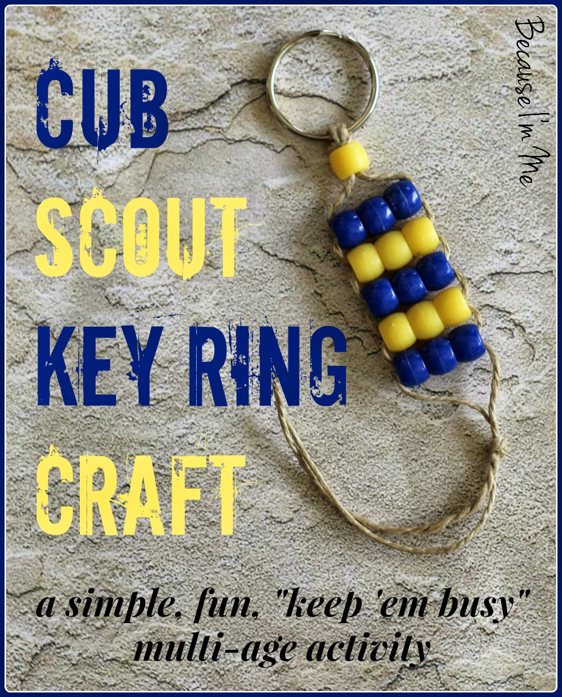 Simple elementary age bead craft, perfect for Cub Scouts and more at Because I'm Me