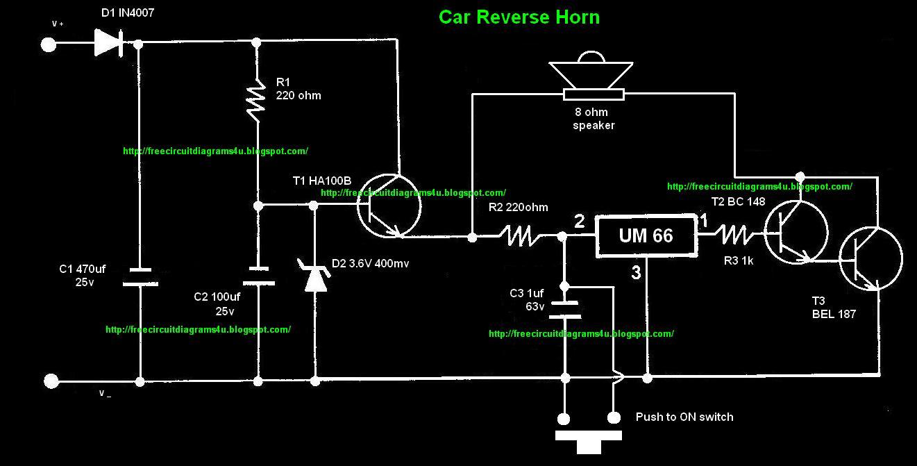 Free Circuit Diagrams 4u  Car Reverse Horn