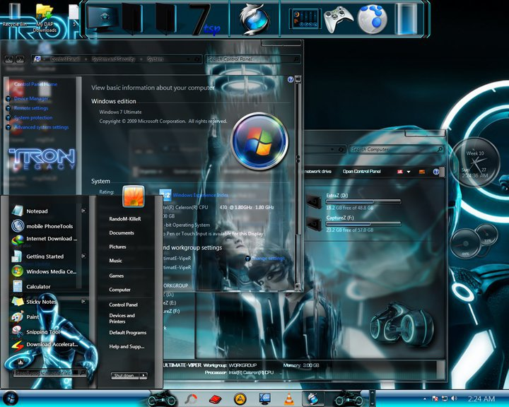 Tron legacy theme for windows 7 os downworldh33t