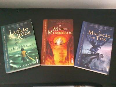 Os três primeiro livros da série Percy Jackson