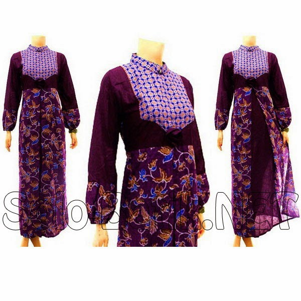 Baju Batik Dress Muslim Ungu