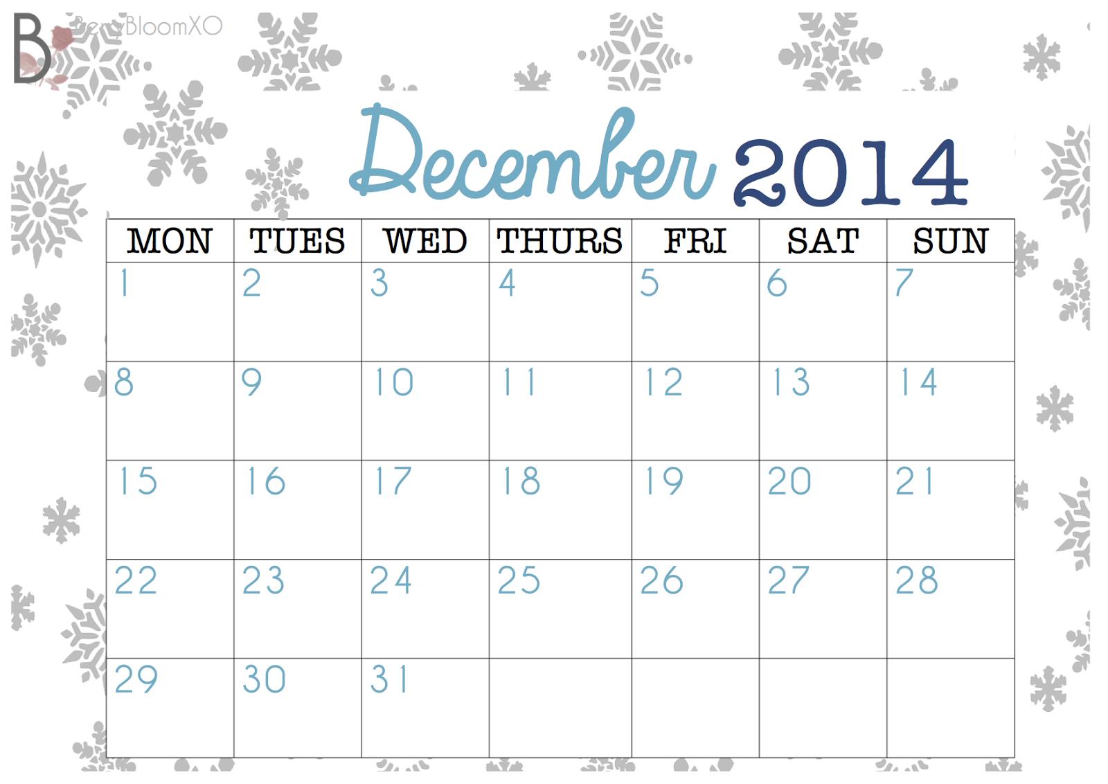 Beauty & Lifestyle Blog: December 2014 Calendar - FREE PRINTABLE