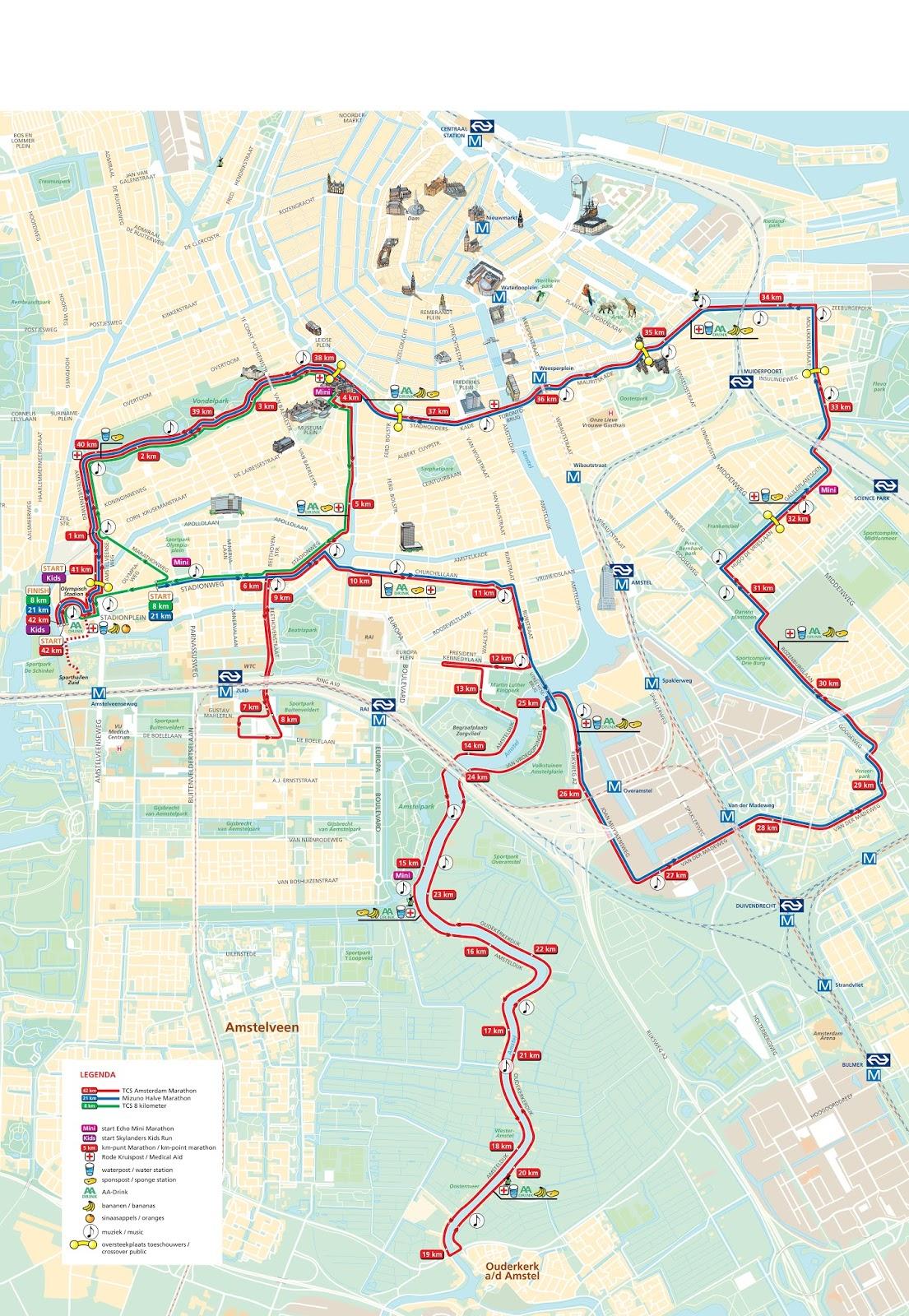 Fabulous My Road to NYC Marathon 2016: TCS Amsterdam Marathon - Route #TF32