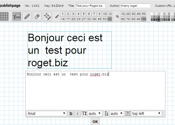 publishpage, test pour roget.biz