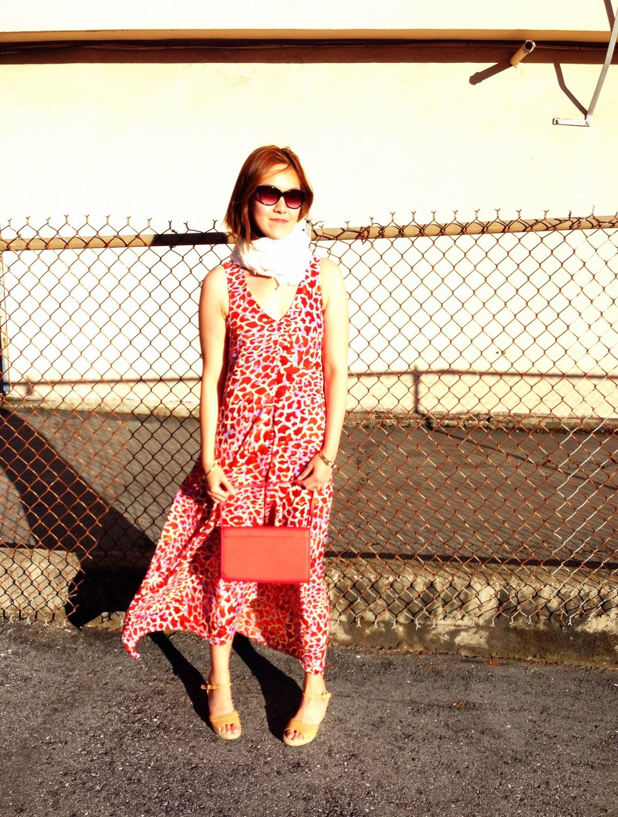 red dress, maxi dress, giraffe print