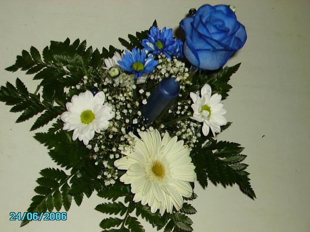 centro flores azul truco