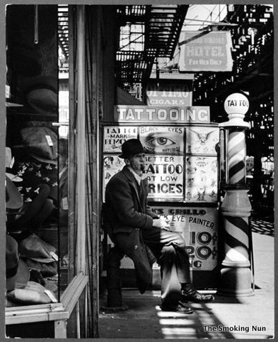 Nyc vintage nyc vintage image of the day the bowery 1930s for Tattoo shops in new york