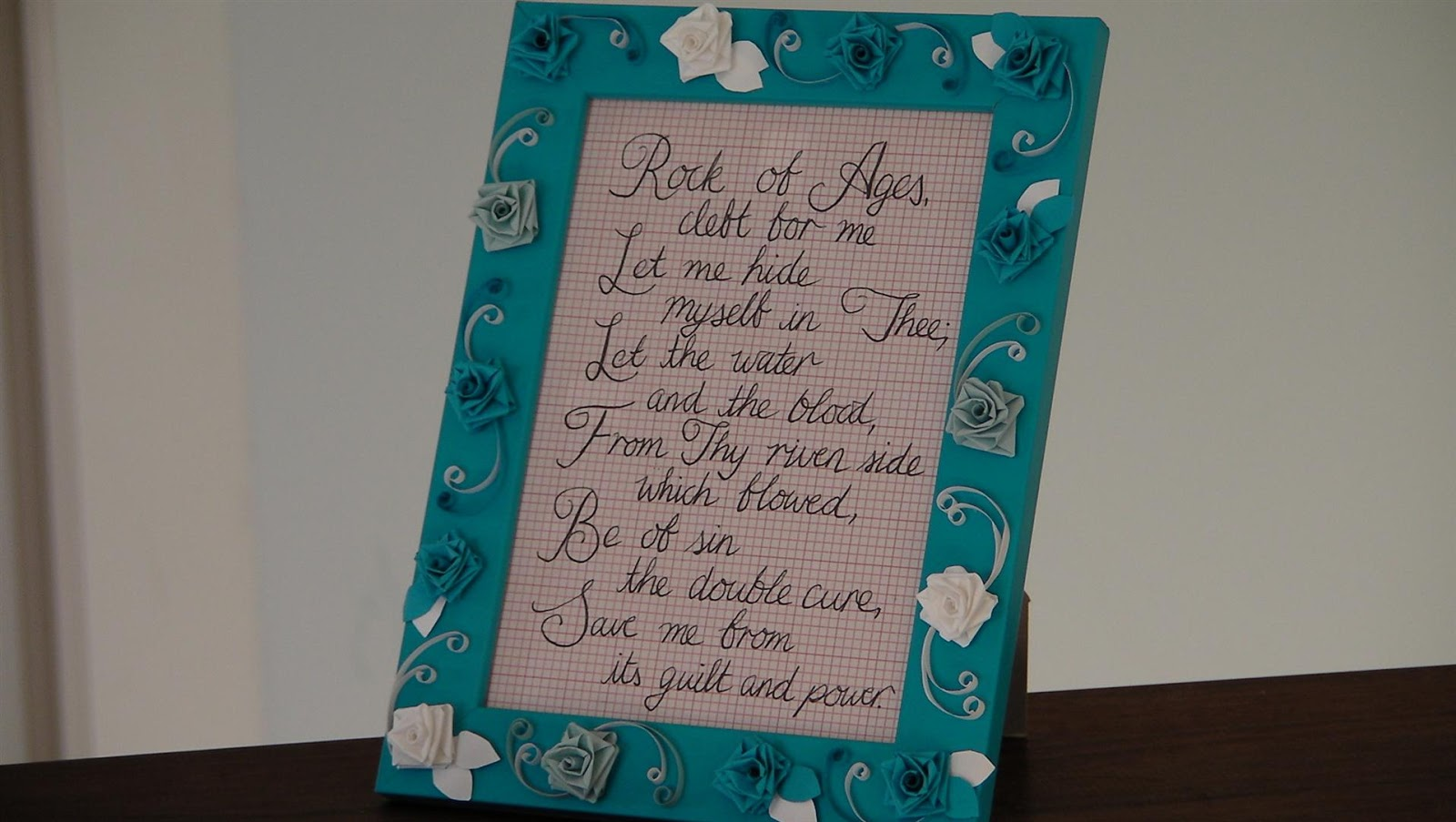 Creativity at home quilled paper rose picture frame i am really interested in ways to display the word or encouraging snippets this is from the hymn rock of ages which ive really enjoyed lately jeuxipadfo Image collections