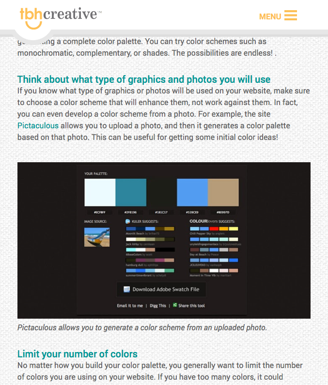 Screengrab of a recent TBH Creative blog post that incorporates an optmized image