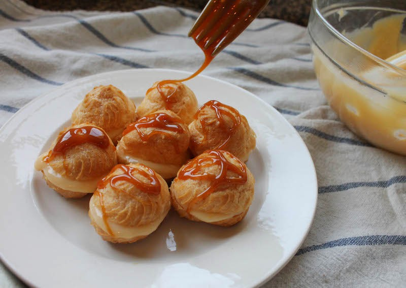 Food Lust People Love: Profiteroles with Caramel Drizzle #SundaySupper