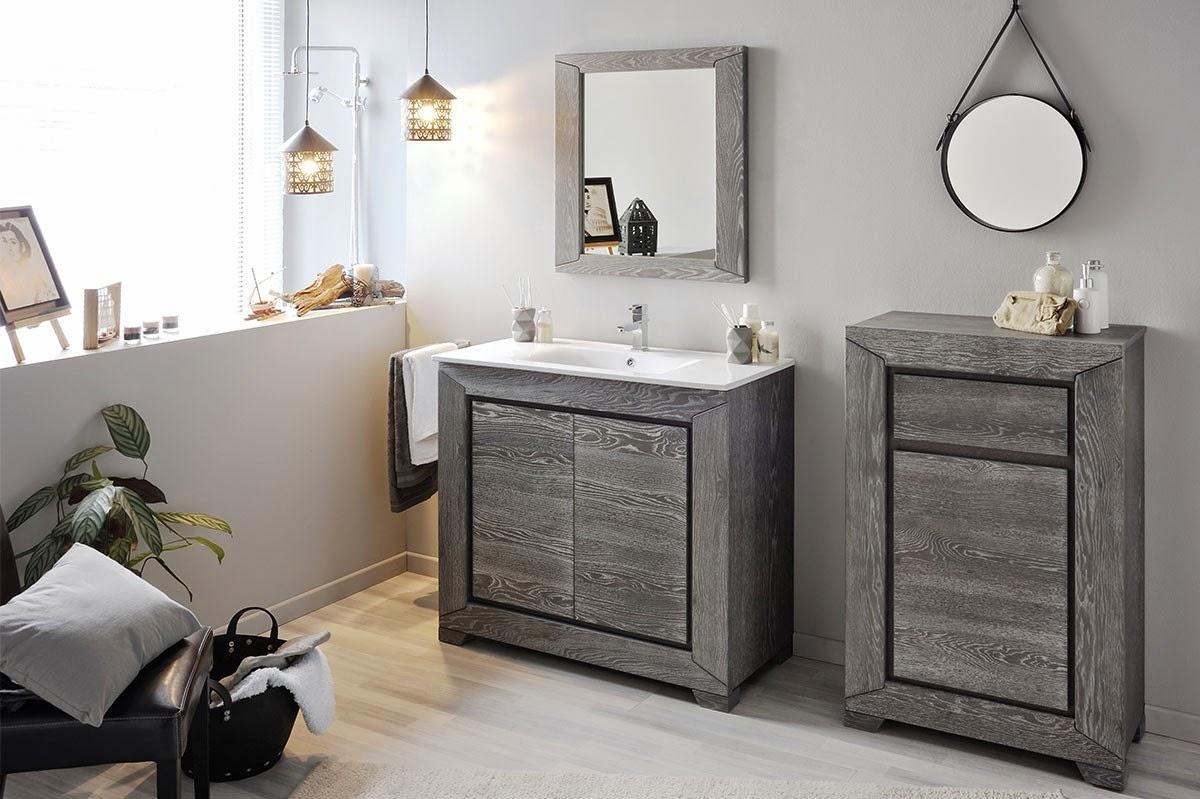 meuble salle de bain chene gris