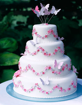 pink butterfly wedding cakes