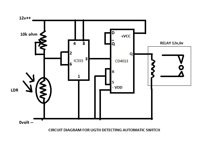miscinfomedia  circuit diagram for making darkness sensor switch or automatic light on   off