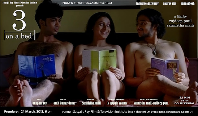 """3 in a bed"" polyamory movie poster from India"