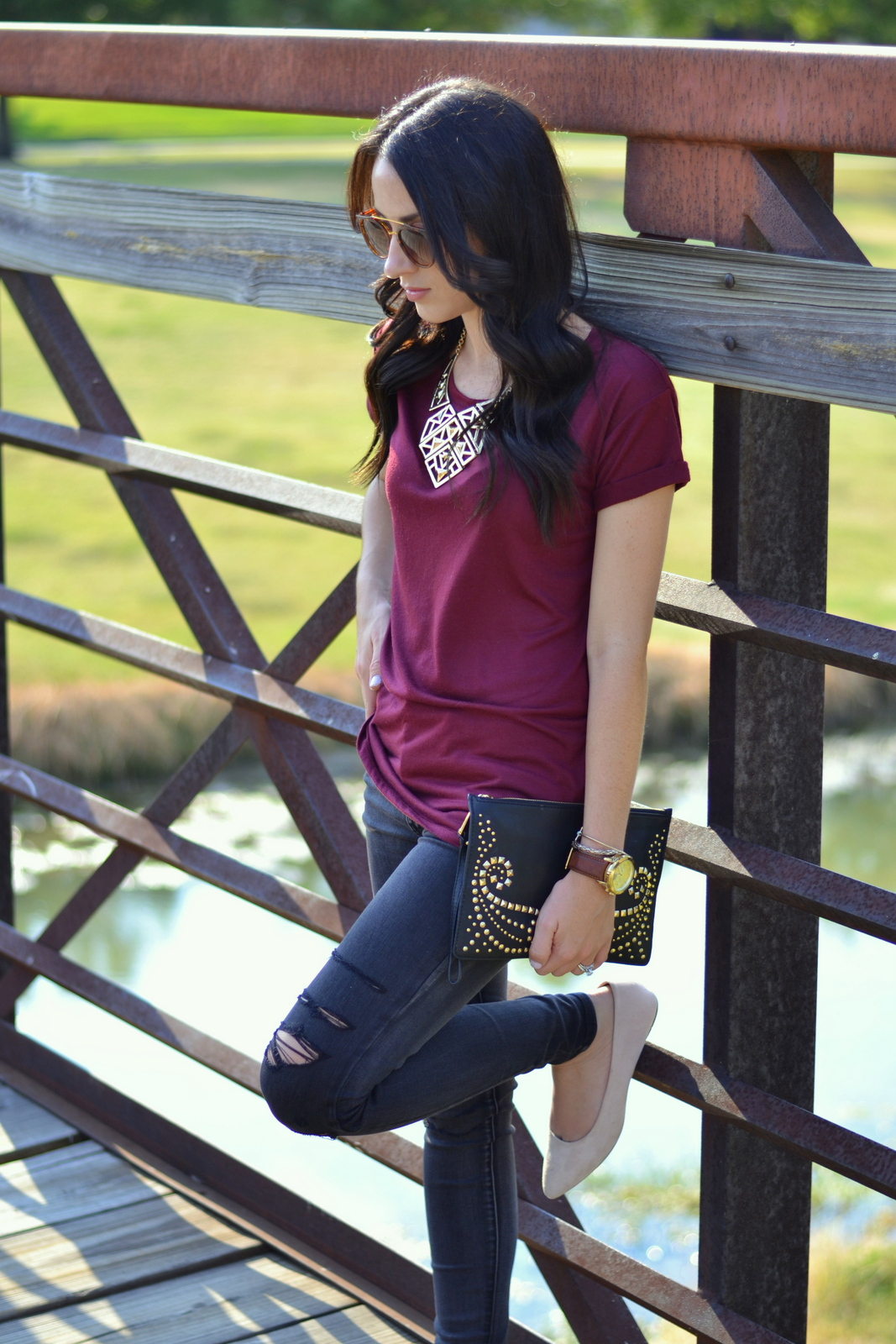 Ripped Black Jeans, Basic Tee and Studded Clutch