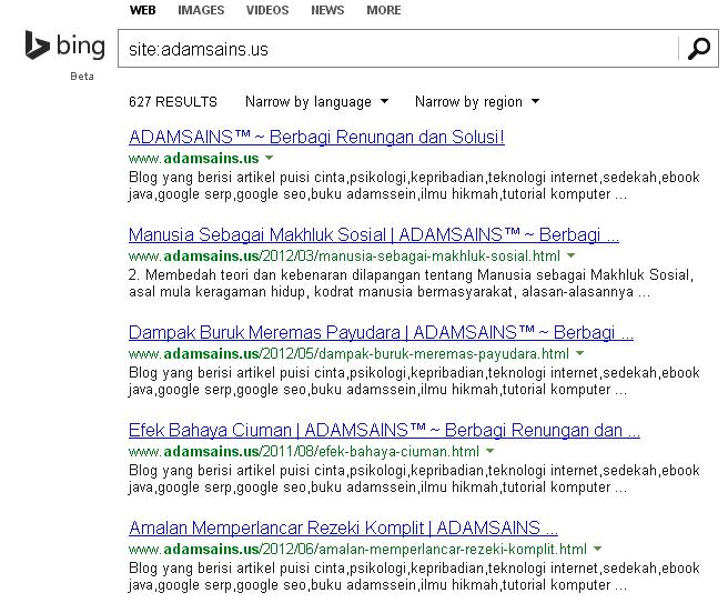 Cara Memantau Jumlah Bing Index Page Secara Manual
