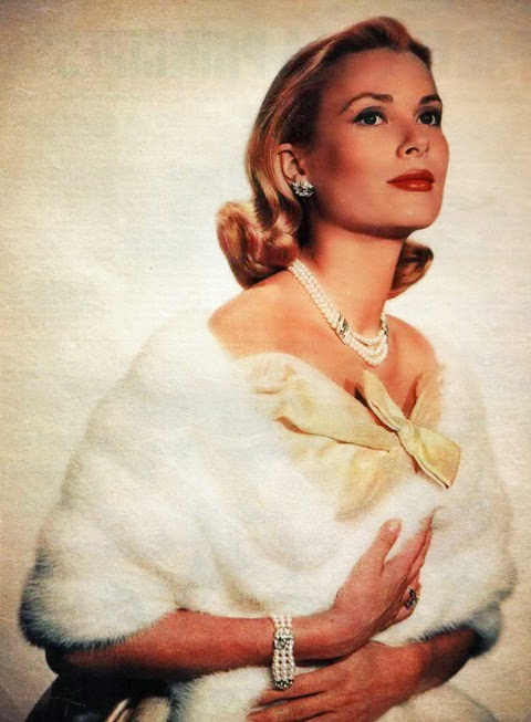 full color white fur stole - princess grace kelly of monaco style icon