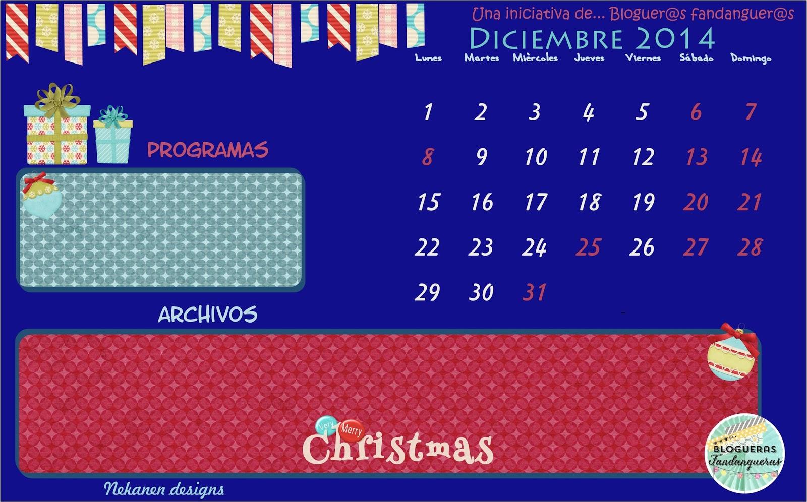 Calendario Diciembre Nekanen Designs