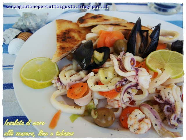 insalata di mare allo zenzero, lime e tabasco