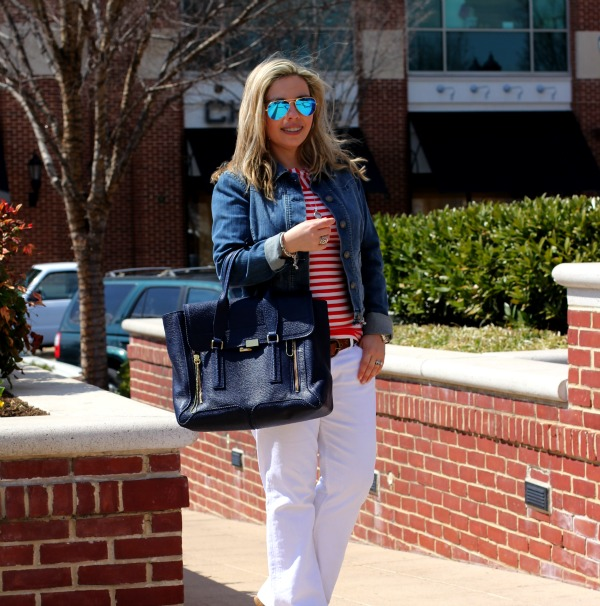 Hudson Signature White Jeans, Striped Shirt - TJ Maxx, Jeans Jacket, 3.1 Phillip Lim Pashli Satchel, David Yurman Sterling Silver Buckle Bracelet and Cable Classic Bow Bracelet, Ray-Ban Original Aviator Sunglasses with Blue Mirrored Lenses
